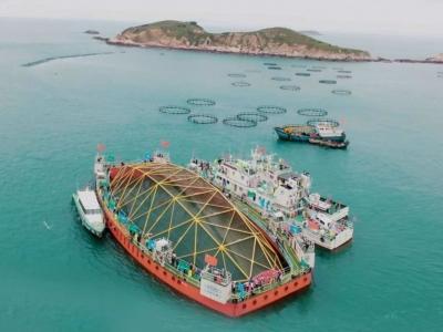 """深远海机械化养殖平台""""振渔1号""""在连江启用"""