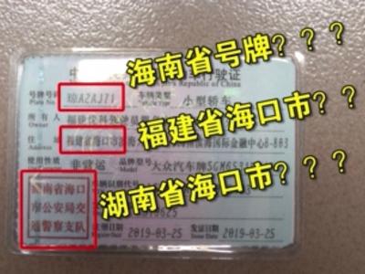 """史上最不走心假证,福州一男子竟持""""福建省海口市""""行驶证处理违章"""