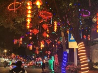 福州张灯结彩迎新年 流光溢彩夜色靓
