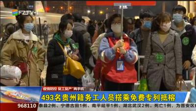 493名贵州籍务工人员搭乘免费专列抵榕