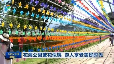 花海公园繁花似锦 游人享受美好时光